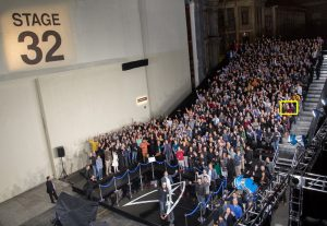 """An aerial view of the unveiling of the newly named """"Leonard Nimoy Way"""" during the Star Trek Beyond Fan Event at Paramount Pictures Studios in on May 20, 2016 in Hollywood, California...(Photo: Vika Petlakh/ABImages)"""